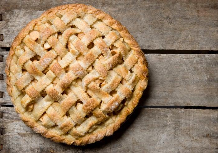 Apple pie with lattice crust.