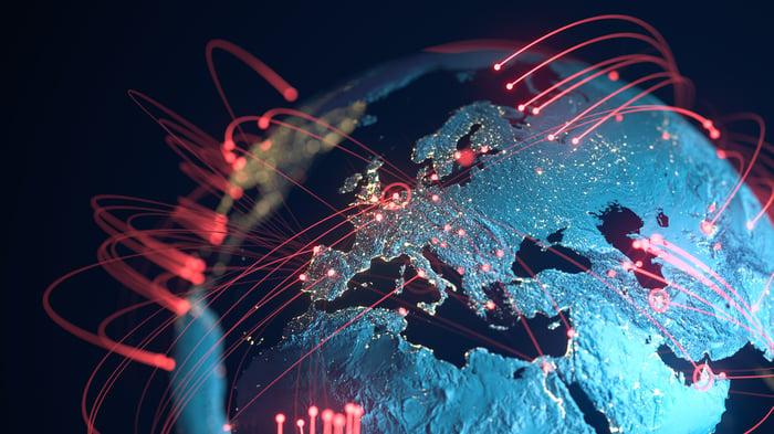 Worldwide network around the globe.