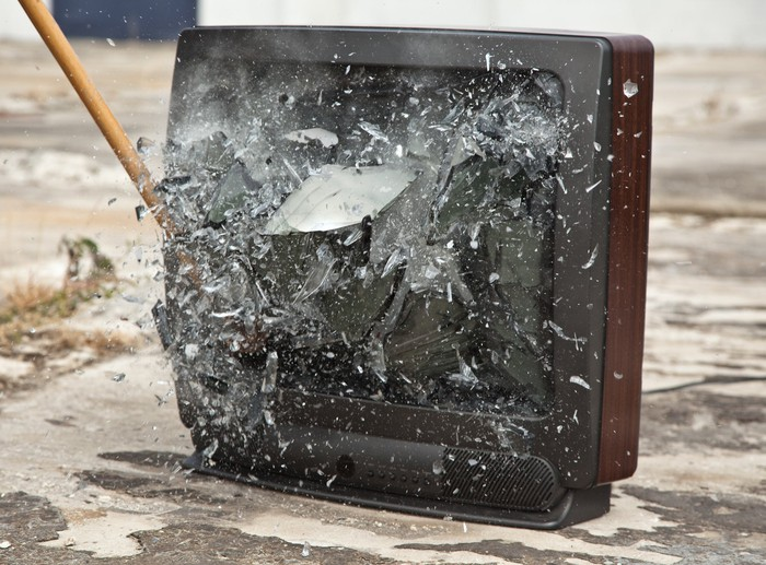 TV screen smashed with hammer