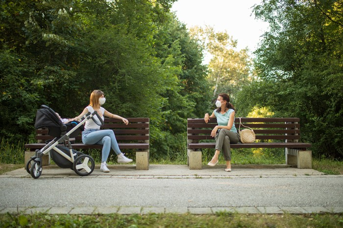 Two women sit six feet apart in masks on benches in a park, one with a stroller.