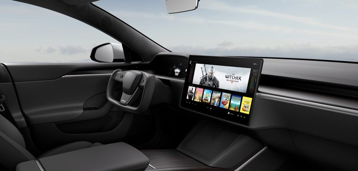 Interior of the redesigned Tesla Model S.