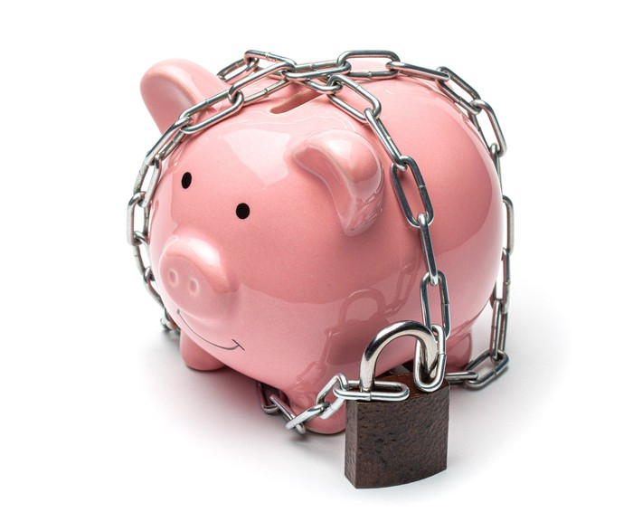 Piggy bank wrapped in chain and padlock
