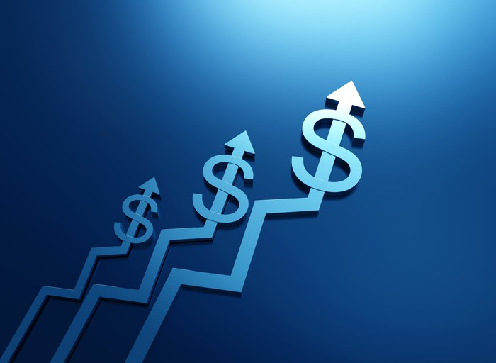 Three lines with arrows and dollar signs trending upward.