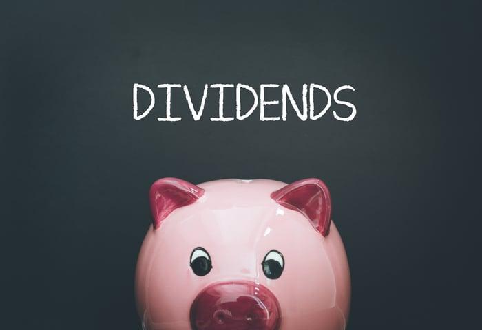 Dividends written on a chalkboard behind a piggy bank