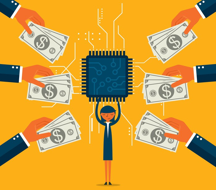 Animation of woman holding up a huge processor and hands with money coming from off camera towards her.