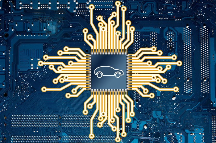 Outline of automobile in the center of a processor with electrical signals emanating.