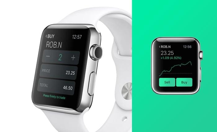 Robinhood app displayed on a smartwatch