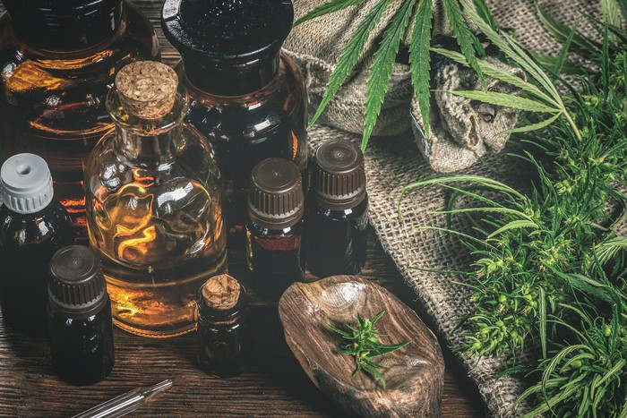 A variety of cannabis products, including flower and oils, is pictured for sale.