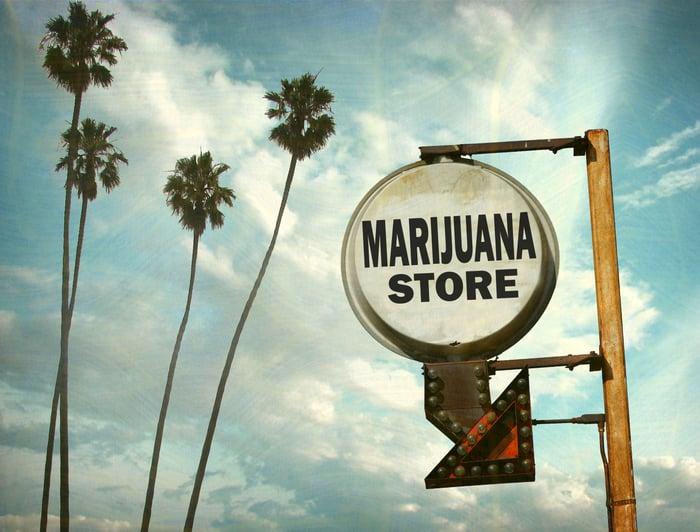 Signe de magasin de marijuana.