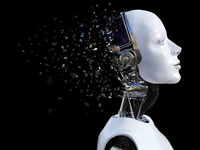 A robot's brain explodes into tiny fragments.