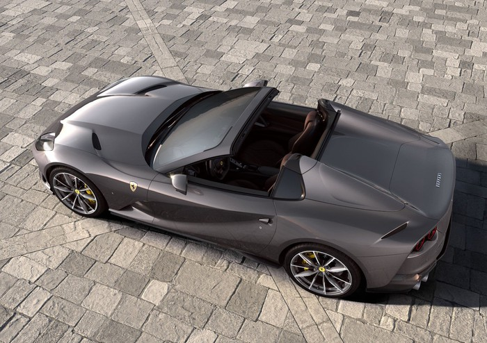 A Ferrari 812 GTS, a two-seat V-12-powered luxury sports car with a retractable roof.