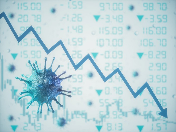 Blue line with arrow trending down next to a coronavirus virion and stock prices in the background