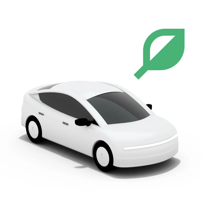 Uber Green logo with white car and green leaf