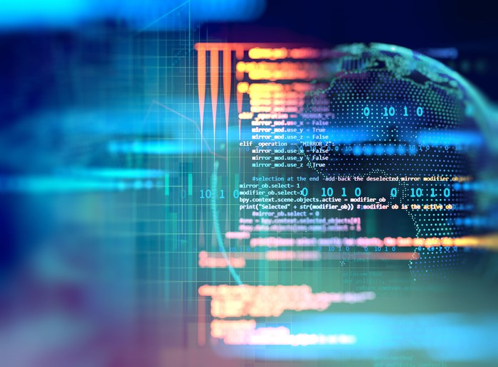 Financial data and code superimposed over globe
