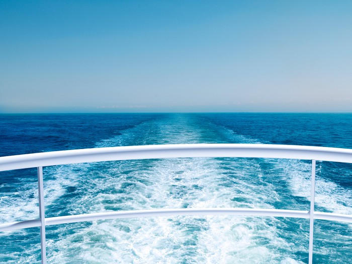 View of the ocean from the stern of a cruise ship