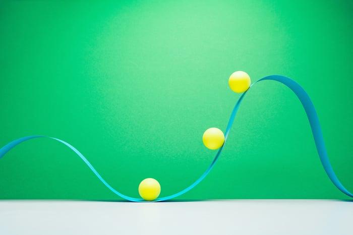 Three yellow balls ascending a blue wave.