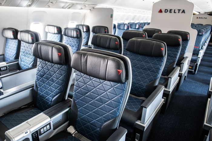 Four rows of premium select seats on a Delta Air Lines plane