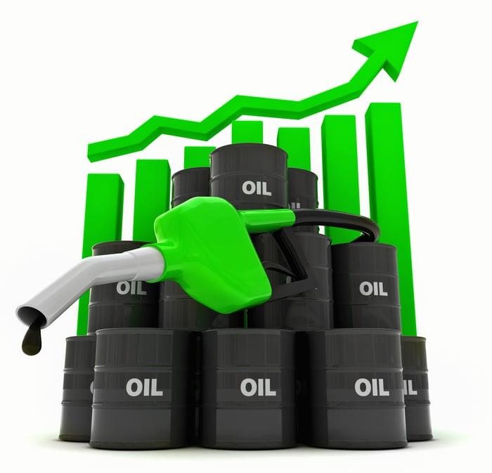 Un tas de fûts d'huile et une buse de carburant, devant un graphique à barres croissant avec une ligne suivant la progression.