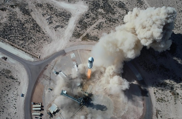 Aerial view of liftoff.
