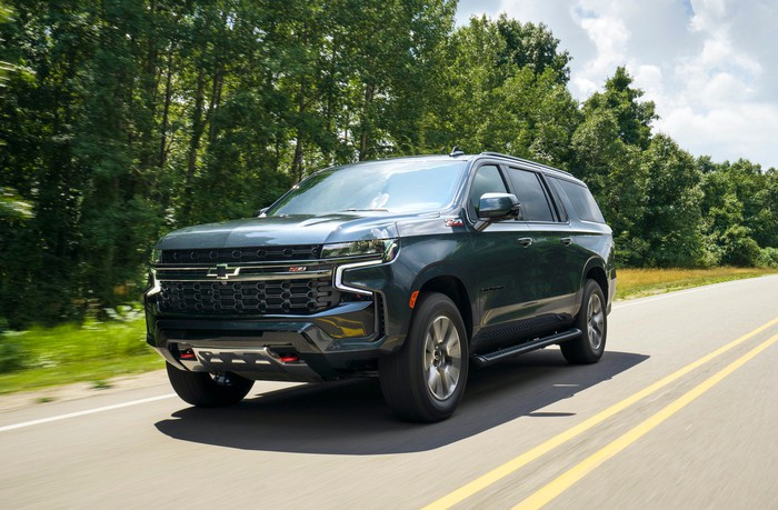 A 2021 Chevrolet Suburban, a large truck-based SUV