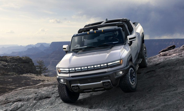 A GMC Hummer EV, a large electric off-road pickup truck