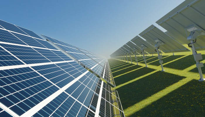 Solar panels on a bright sunny day.