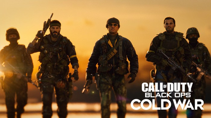 Screenshot from Call of Duty Black Ops Cold War showing five soldiers walking in combat gear.