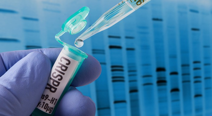 A gloved hand holding a small container labeled CRISPR as someone puts a drop of liquid inside.