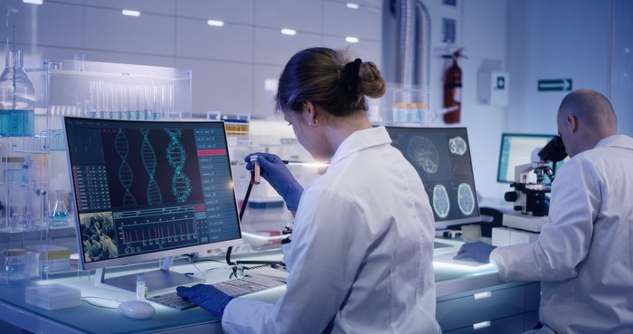 Genetic researchers in a lab.
