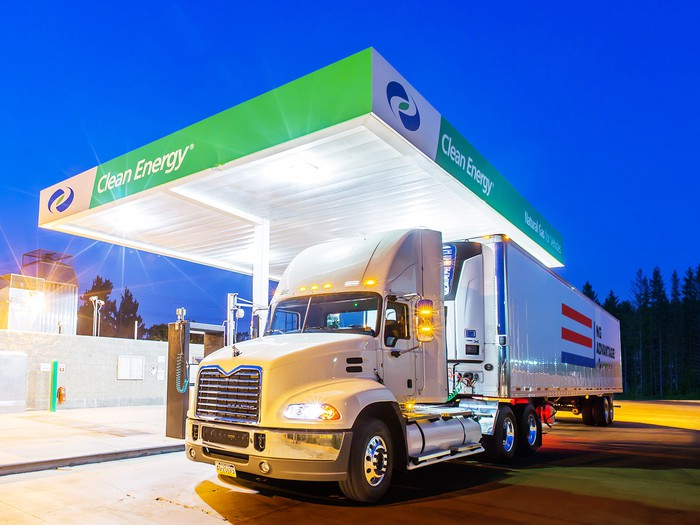 A big rig at one of the company's natural gas fueling stations.