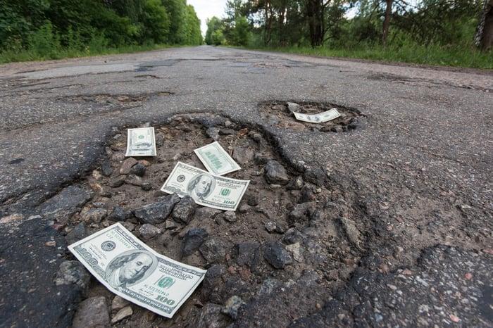 Hundred-dollar bills strewn across potholes in a long, straight road.