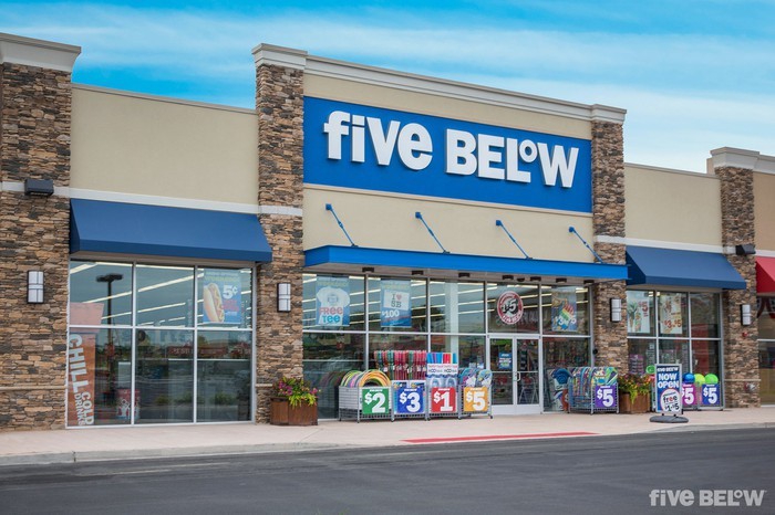 The exterior of a Five Below store location.