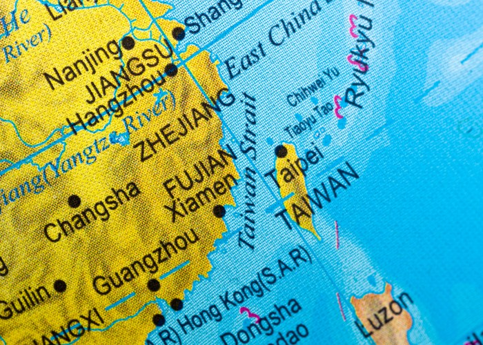 A map view showing China overshadowing Taiwan.