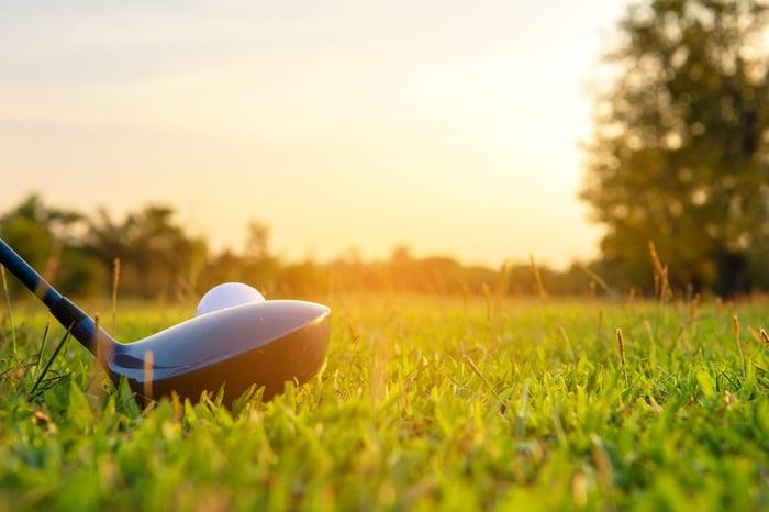 Golf ball teed up.