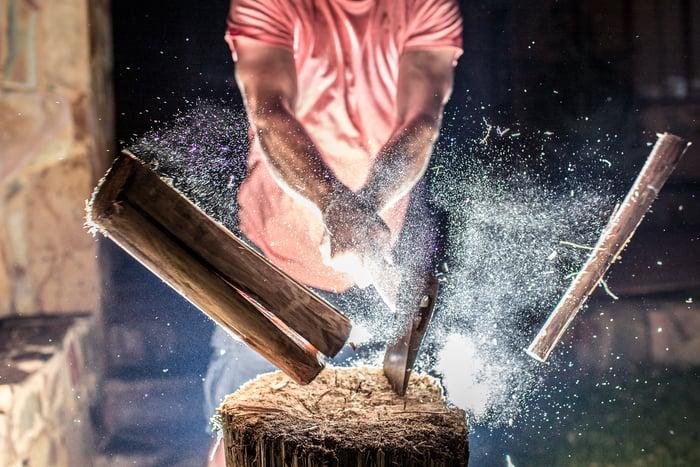 A man splits a log with an axe.