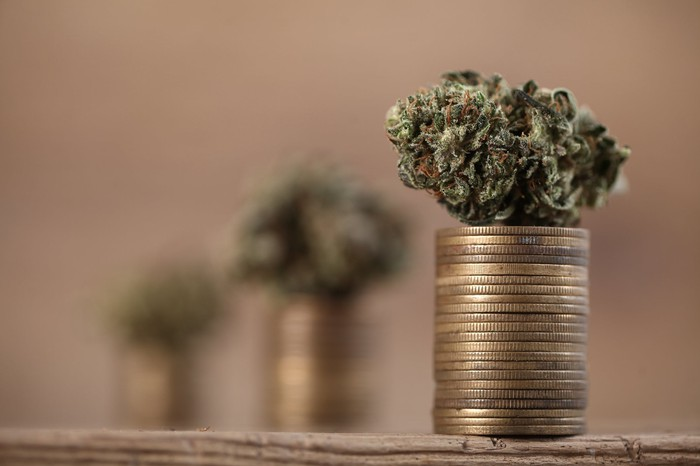 A marijuana bud on top of rising stacks of gold coins.