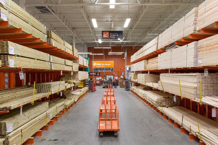 Lumber aisle inside a Home Depot