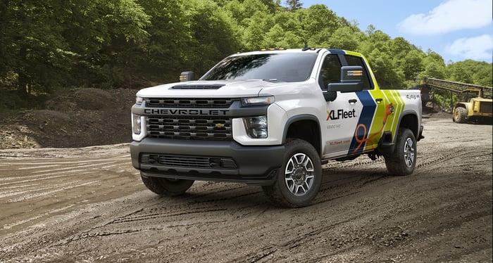 An XL Fleet modified Chevrolet electric truck on a dirt surface.