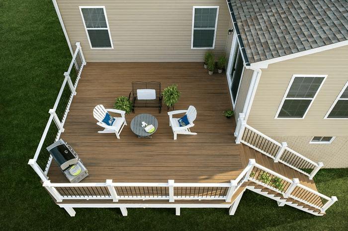 overhead view of Trex composite backyard deck