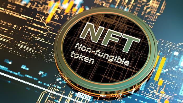 Circular token bearing the words: NFT Non-fungible token.