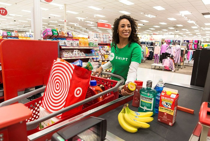 A Shipt worker fulfilling an order at Target.