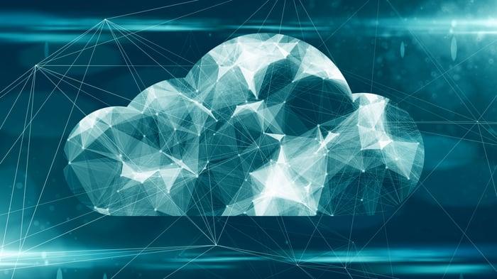 A digital rendering of a cloud representing cloud computing