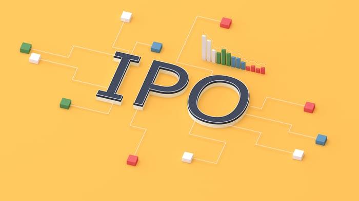 Fond jaune avec des lettres IPO au milieu.