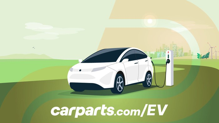 A cartoon of an electric vehicle being charged.