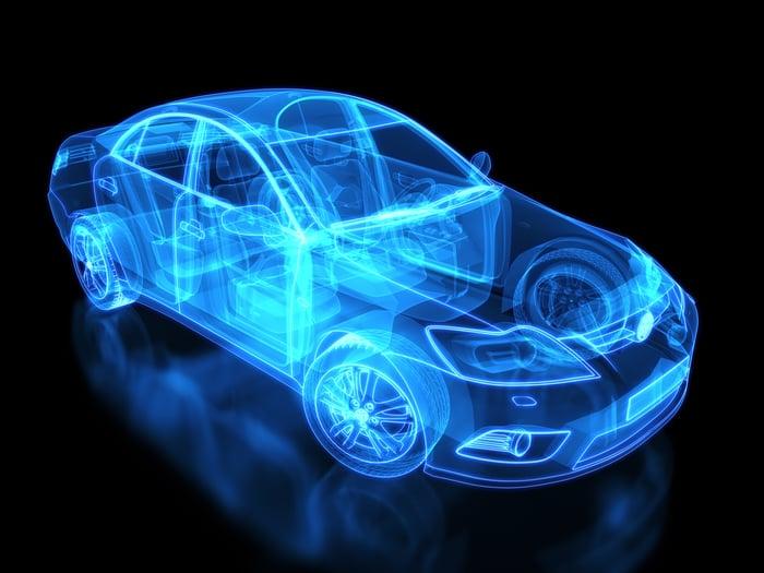 Une illustration numérique d'un véhicule.