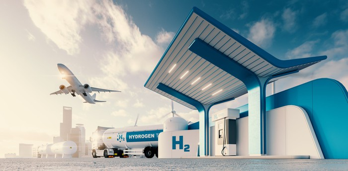 Hydrogen gas station with truck, jet and city in the background.