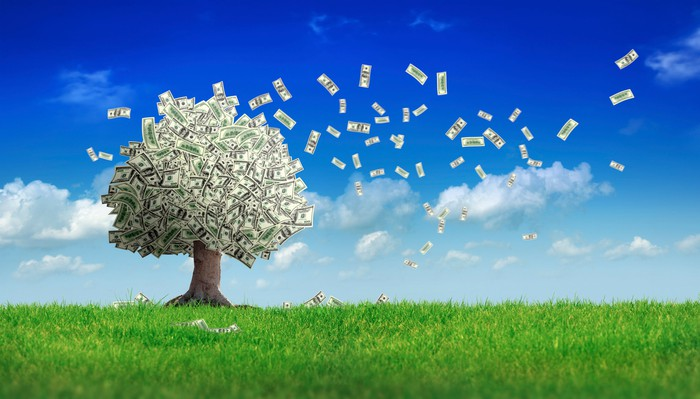 Cash flying off a tree with bills for leaves in a field