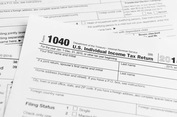 A tax Form 1040.