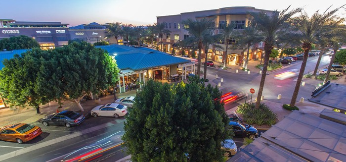 A bird's-eye view of Macerich's Kierland Commons outdoor mall in Arizona.
