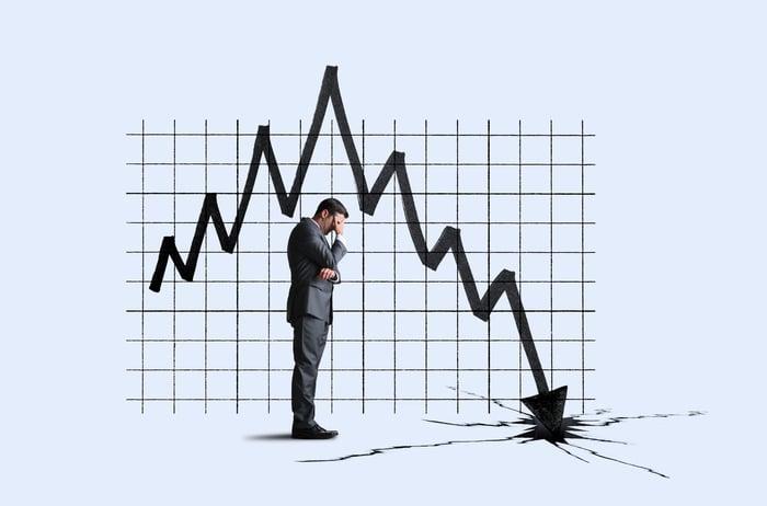 Un homme d'affaires se couvre les yeux pour ne pas regarder le graphique boursier qui s'écrase devant lui.